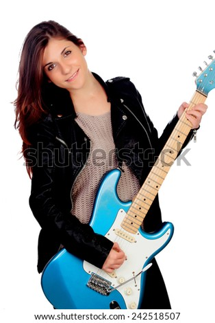 Young girl with electric guitar isolated on white background