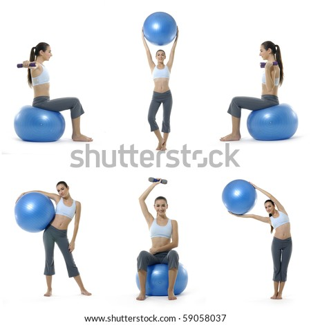 young girl with fit ball ,collage - stock photo