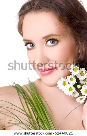 young girl with flowers  and  grass, isolated - stock photo