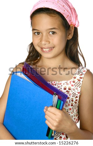 Young girl with folders, ready for school. - stock photo