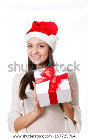Young girl  with gifts in hand on a white background