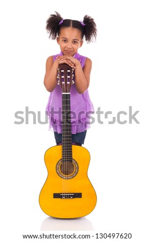 Young girl with guitar on white background - stock photo