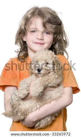 Young girl with her toy Poodle puppy (9 weeks old) in front of a white background