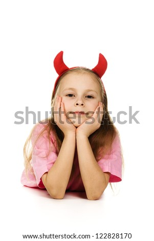 Young girl with horns imp on a white background.