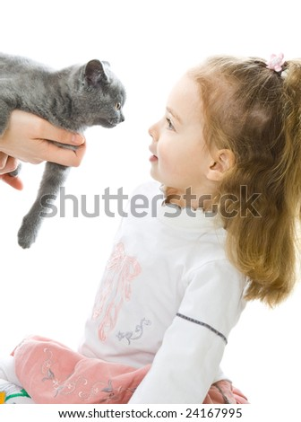 Young girl with kitten. Isolated on white background