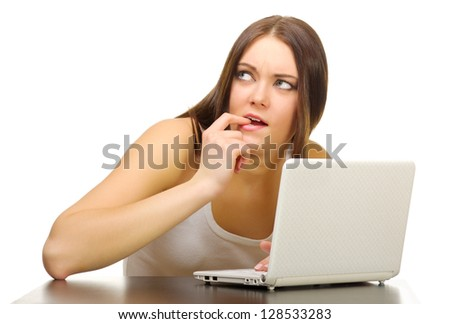 Young girl with laptop isolated