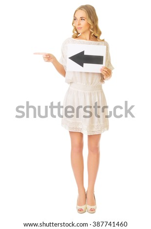 Young girl with left arrow banner isolated - stock photo