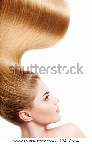 Young girl with long hair - stock photo