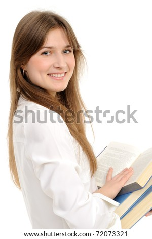 Young girl with long hair and book on a white background