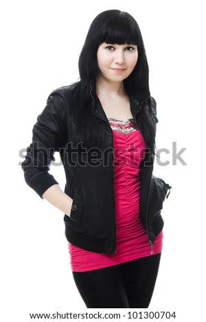 young girl with long hair, black leather jacket on a white background.