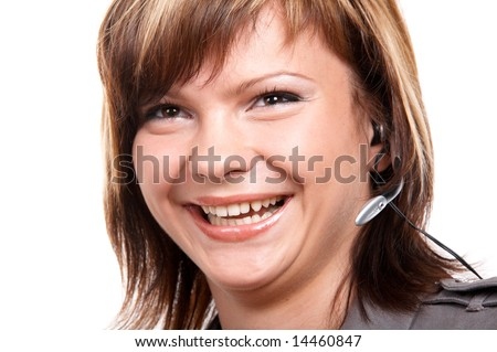 Young girl with microphone isolated on the white background - stock photo