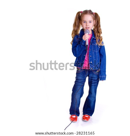 Young girl with microphone on white background