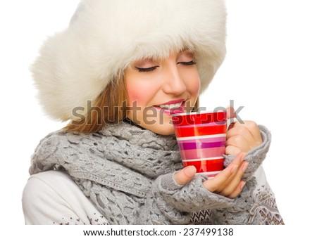 Young girl with mug isolated - stock photo