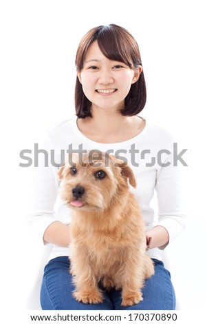 Young girl with Norfolk Terrier dog, isolated on white background