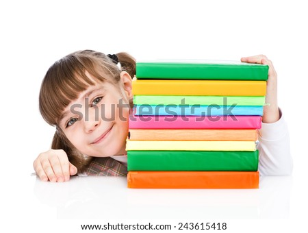 young girl with pile books. isolated on white background - stock photo
