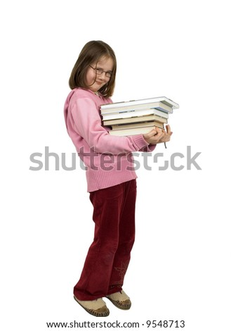 Young girl with pile of books isolated on white background