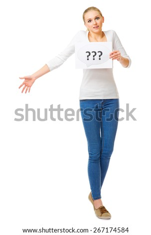 Young girl with question banner isolated - stock photo