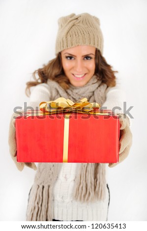 Young girl with red gift
