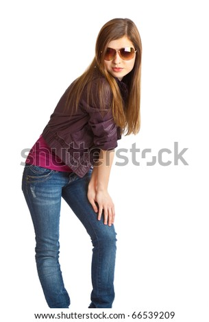 Young girl with sunglasses. Isolated on white background