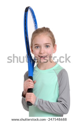 young girl with tennis racket isolated white background
