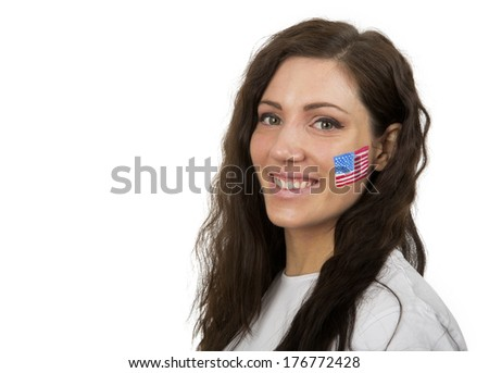 Young Girl with the USA flag painted in her face