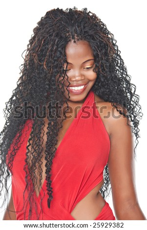 young girl with traditional african braids, - stock photo