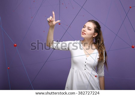 Young girl working with virtual net - stock photo