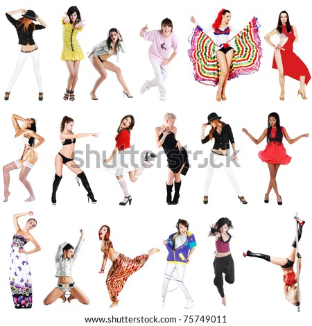 Young girls dance different dances. collage - stock photo