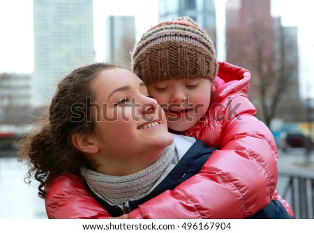 Young girls having fun in the city