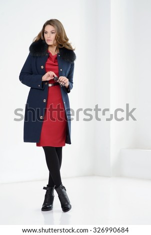 Young Girls Coats Posing Studio Stock Photo 326990705 - Shutterstock