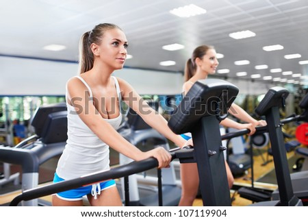 Young girls in fitness club - stock photo
