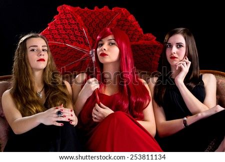 Young girls in retro style - stock photo