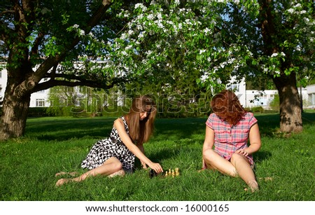 Young girls playing chess on the grass - stock photo