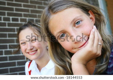 young girls smiling
