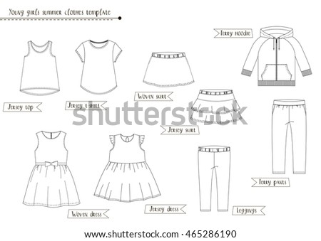 Young Girls Summer Clothes Template Black Stock Illustration ...
