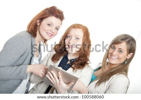 Young girls with tablet pc