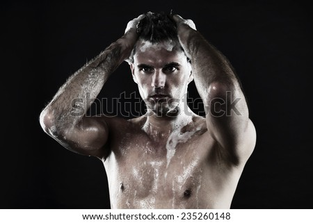 Shower Model young good looking man taking shower stock photo 235260139