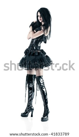 Young goth woman. Isolated on white. - stock photo