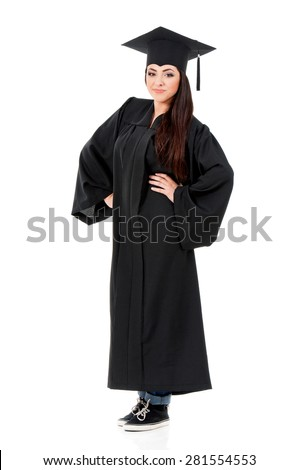 Young graduate girl student in mantle, isolated on white background