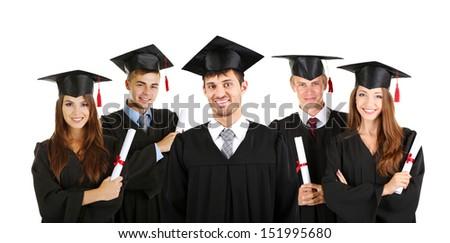 Young graduates isolated on white - stock photo
