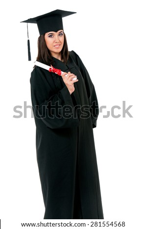 Young graduation girl holding diploma, isolated on white background