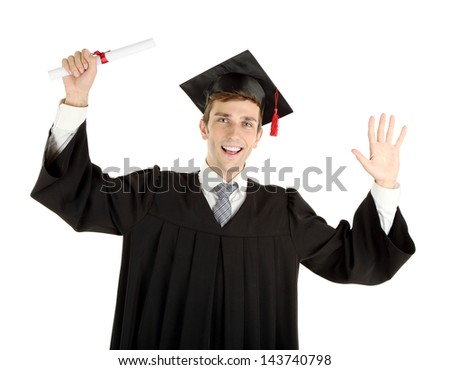 Young graduation man holding diploma, isolated on white