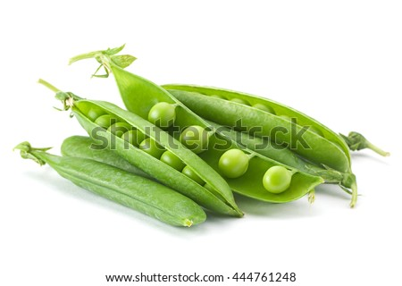 Young grean peas closeup isolated on white background