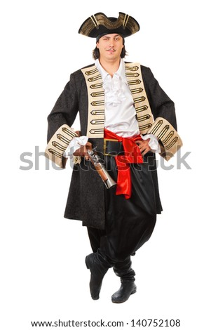 Young grinning man in pirate costume.  Isolated on white   - stock photo