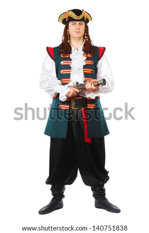 Young grinning man wearing pirate costume and cocked hat. Isolated on white  - stock photo