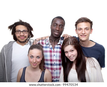 Young group of five women and men isolated over white background. - stock photo