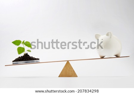 Young growing plant balancing on seesaw over a piggy bank - stock photo