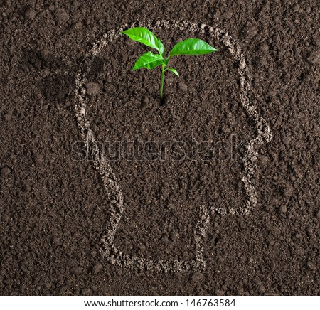young growth of idea inside of human head contour on soil concept - stock photo