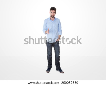 young guy in casual clothes in a a meeting - stock photo
