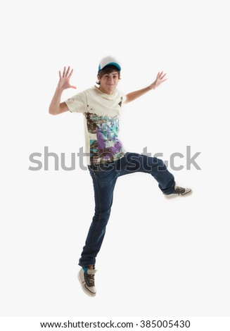 Young guy is dancing. Street dance. White background. - stock photo